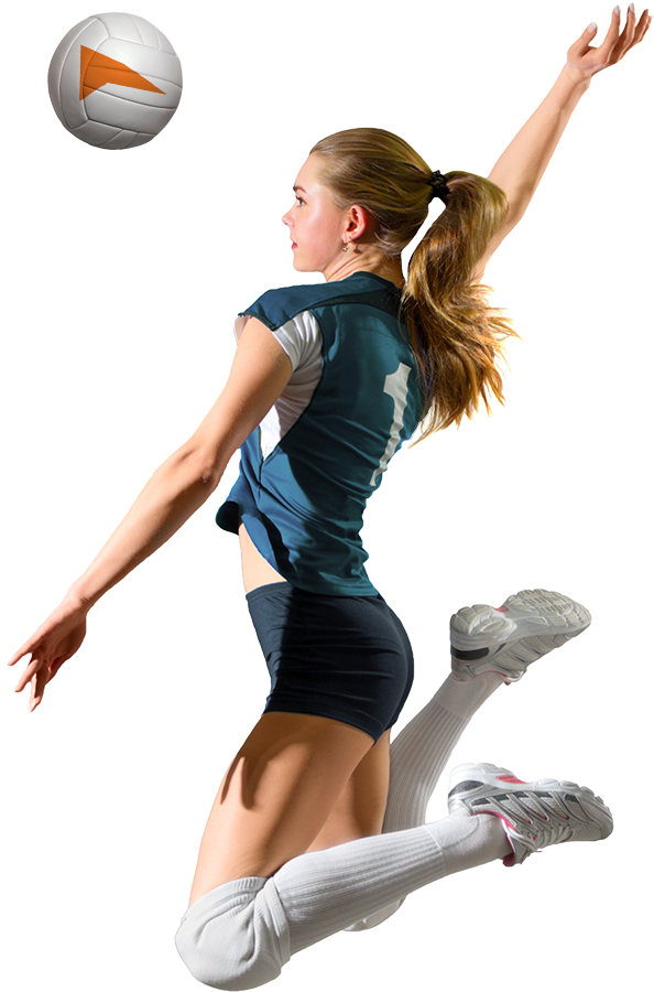 Volleyball player in the middle of a spike